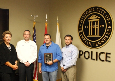 Chief Deborah Faulkner, Leo Linkov, Officer Clayton Cates, Kris Krabill (Toyota of Cool Springs)