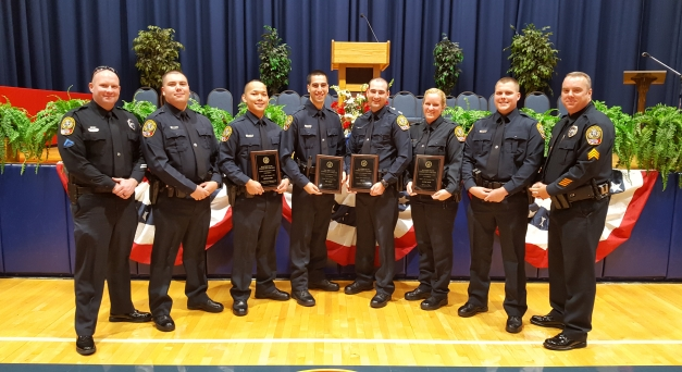 (Master Patrol Officer Matt Lamar, Officer Anthony Alexander, Officer Steve Chittanavong, Officer Connor Jimenez, Officer Branden McClellan, Officer Rebecca Pike, Officer Jonathan Corner, Sergeant Mike Simpkins)
