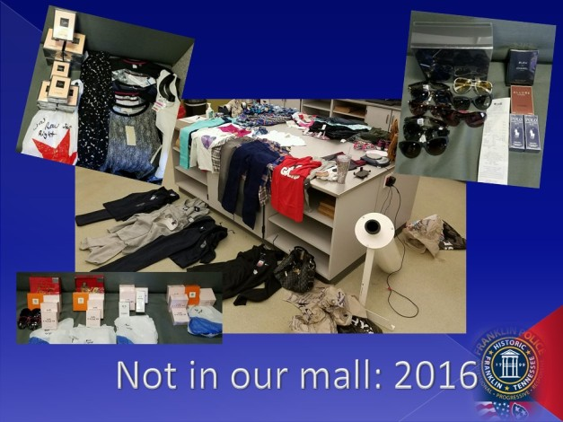 (Sampling of some of the stolen merchandise recovered by Franklin Police)